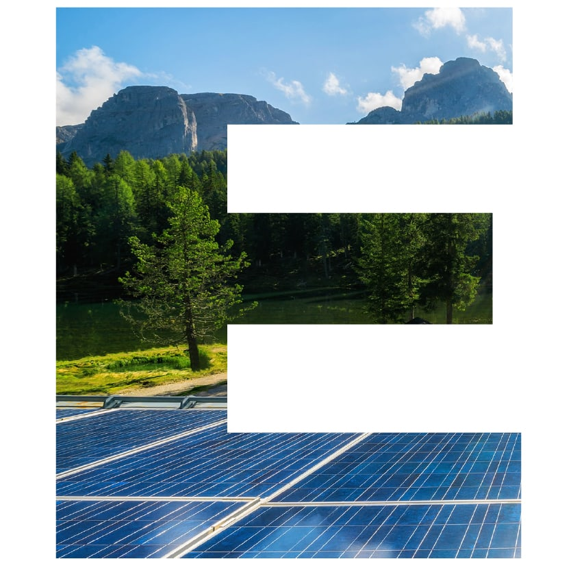 letter E superimposed with solar panels and mountains