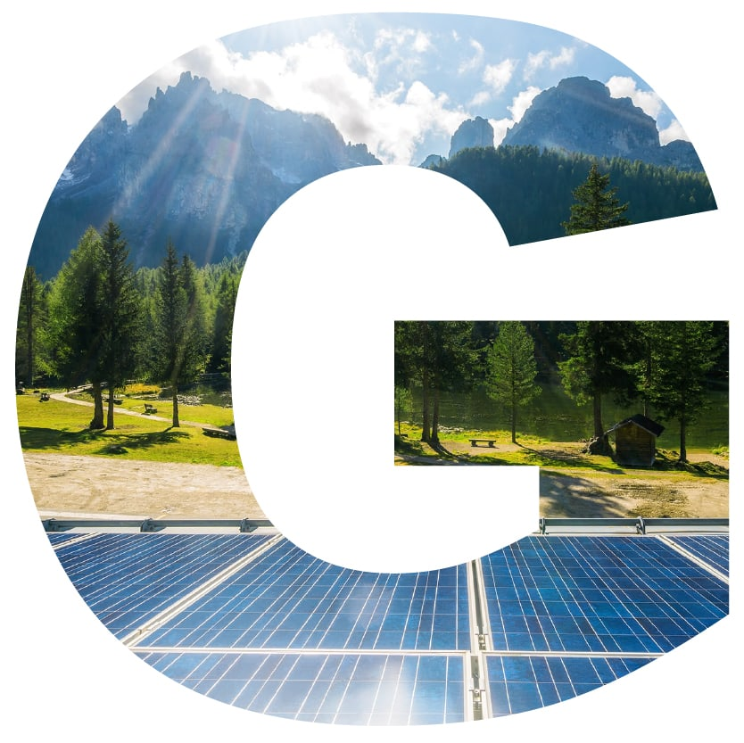letter G superimposed with solar panels and mountains
