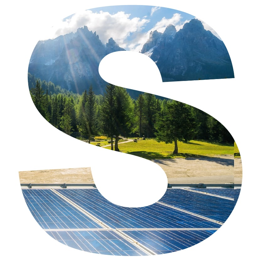 letter S superimposed with solar panels and mountains